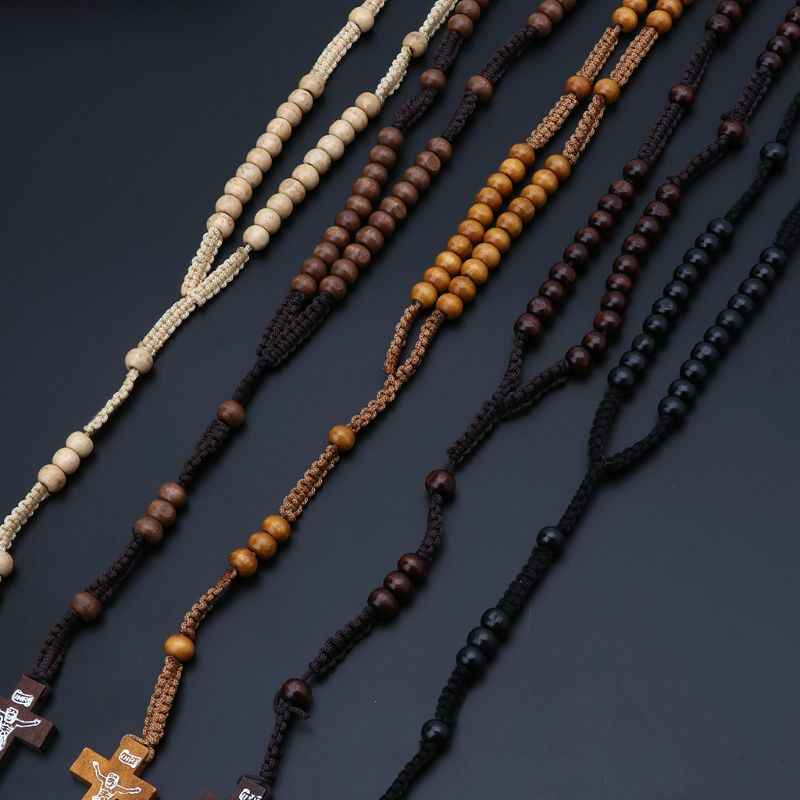 Contas de madeira Rosário Colares com Jesus Impressão Religiosa Jesus Cruz Jóias Para homens