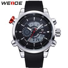 WEIDE Mens LCD Analog Digital Dual Time Watch PU Band Stainless Steel Back Big Black Dial 30M Waterproof Watches Original Gifts