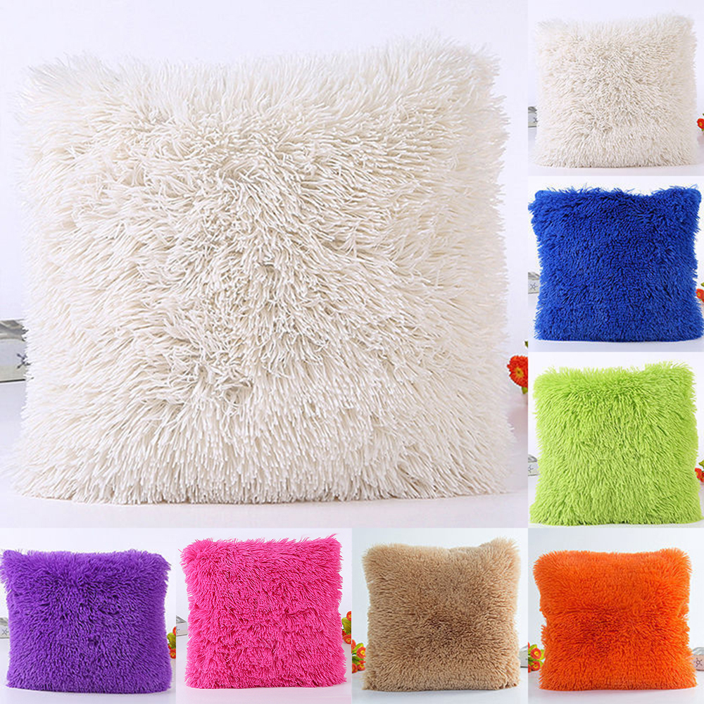 Plush Furry Cushion Cover Throw Pillow Case Home Bed Room Sofa Decor 2019 New Arrivals