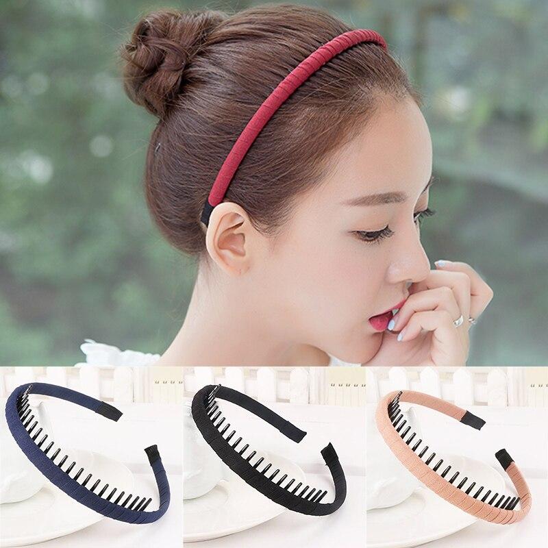 Fashion Women Girls Headdress Solid 1PC Cloth Headband Wrap Hair Hoop Bezel Korean With Teeth Female Hair Accessories(China)