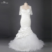 Mermaid Wedding Gowns Pleated Satin Tulle Skirt Wedding Dress With Sleeves RSW858