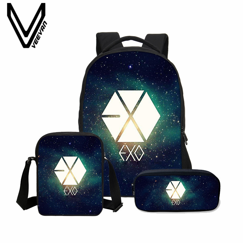 VEEVANV 3 Pcs/Set 3D Letter Bookbag Boys Backpacks School Bags Children Shoulder Bag Fashion Mochila Girls EXO Printing Backpack