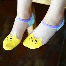 cute cartoon Cat patterns Rayon Stitching cotton socks for women Spring and summer fashion animal socks