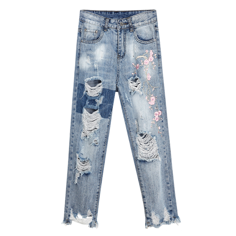2017 Boyfriend Hole Ripped Jeans For Women Floral Embroidered Denim Harem Jeans Casual High Waist Pants Pantalon Femme F183 2017 ripped jeans women casual denim ankle length boyfriend pants women floral embroidered flares hole female slim pencil pants