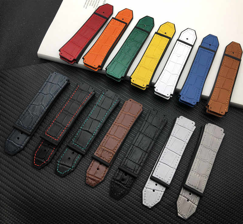 Blue Red White 25*19mm real cow leather Rubber Watchband for Hublot strap for Big Bang belt Watch band butterfly Buckle tools