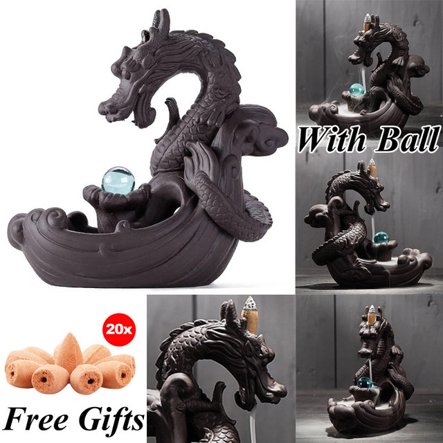 Incense Burner Creative Dragon With Crystal Ball + 20Pcs Incense Cones