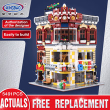 Xingbao 01006 5491 шт. подлинной творческой Moc Сити серии Игрушечные лошадки и книжный магазин набор детей здания Блоки кирпичи игрушки модель gif