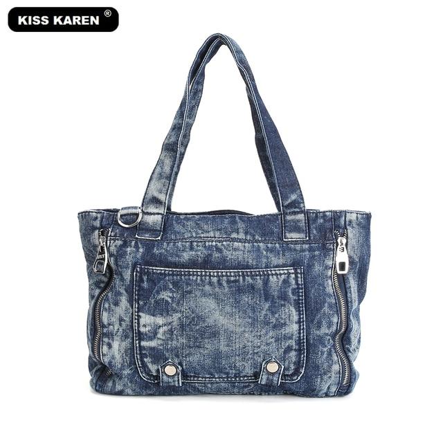 KISS KAREN Fashion Denim Casual Tote Jeans Women Bag Vintage Designer Women  Handbags Ladies Tote Bags dfc1fd960bfcd