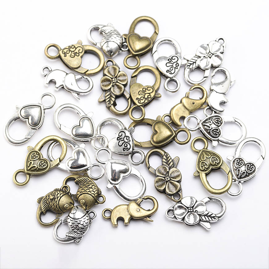 10pcs Antique Bronze Silver Big Heart Lobster Clasp Hooks Accessories For DIY Jewelry Making Necklace Bracelet Connect Findings
