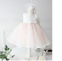 高品質の女の子パーティードレスピンクレース白弓結婚式のフラワーガールのドレスで大きな弓クリスマスギフト用2-7y