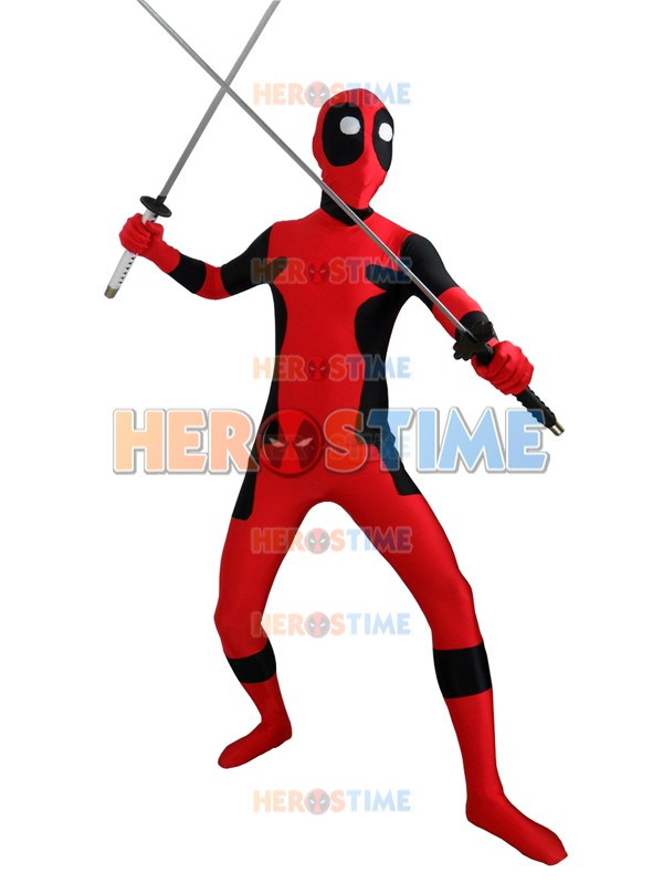 Deadpool Costume with Round Eyes Lycra Spandex Full Body Deadpool Halloween Cosplay  Bodysuits adults/kids zentai suit custom