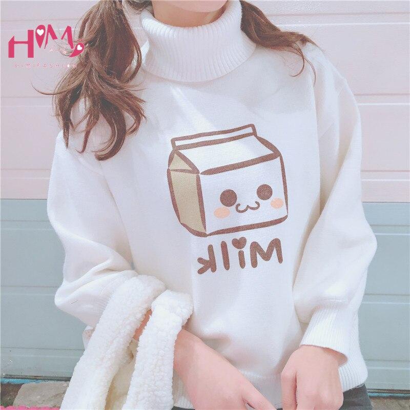 Preppy Cashmere Women Pullover Winter High Collar Milk Boxes Print Cute Sweater Female Turtleneck Loose Kawaii Knitting Jumper