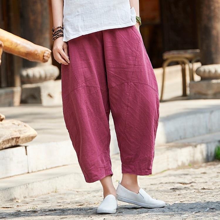 ORIGOODS Vintage Linen Women Harem   Pants   Elastic waist   Capris   Summer   Pants   Solid Red White Gray Beige Women Harem Trousers B216