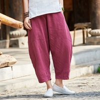ORIGOODS Vintage Linen Women Harem Pants Elastic waist Capris Summer Pants Solid Red White Gray Beige Women Harem Trousers B216