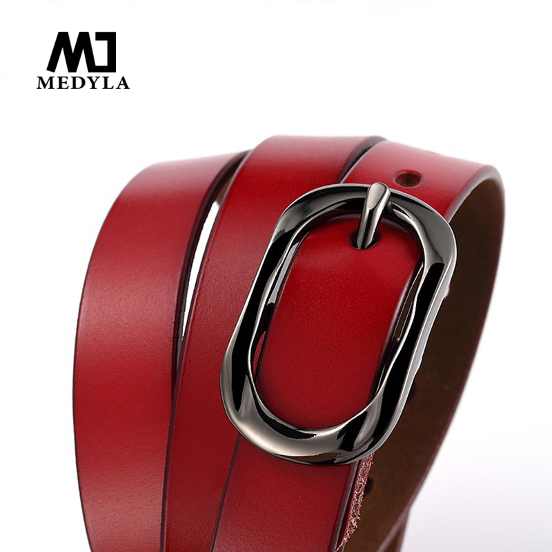 MEDYLA new genuine leather   Belts   for women Fashionable Cowhide   Belt   Female vintage leather   belt   brand designer strap