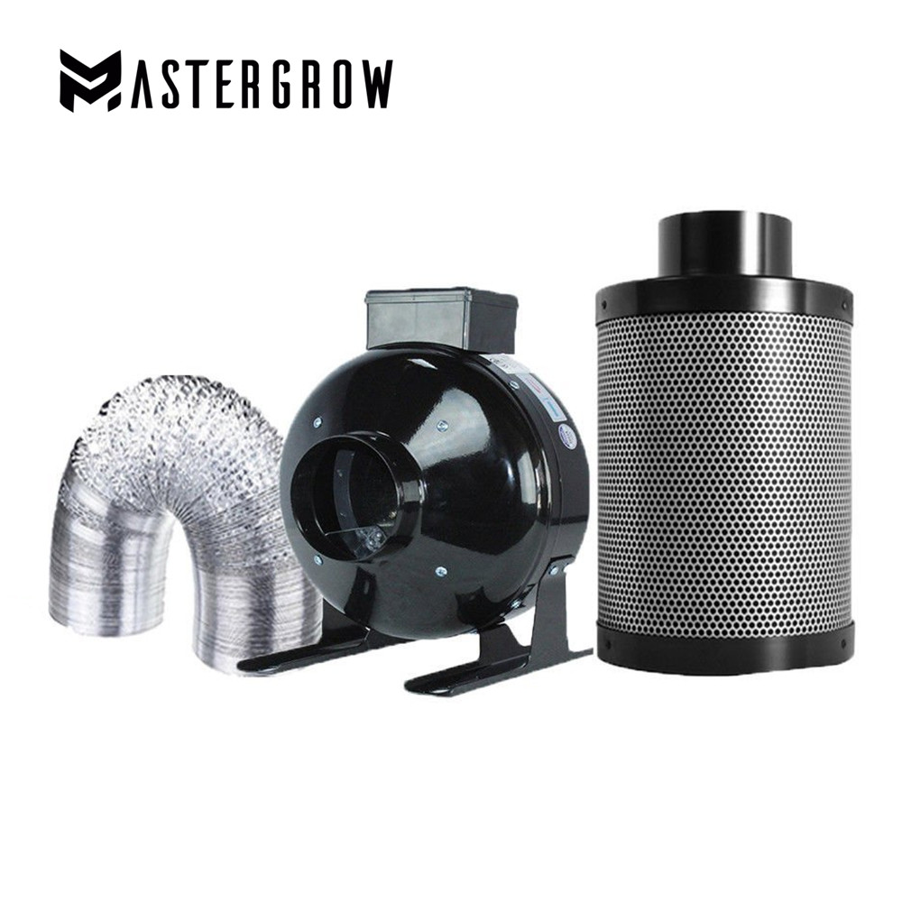 MasterGrow 4 5 6 8 Inch Centrifugal Fans Activated Carbon Air Filter Set For Indoor Hydroponics