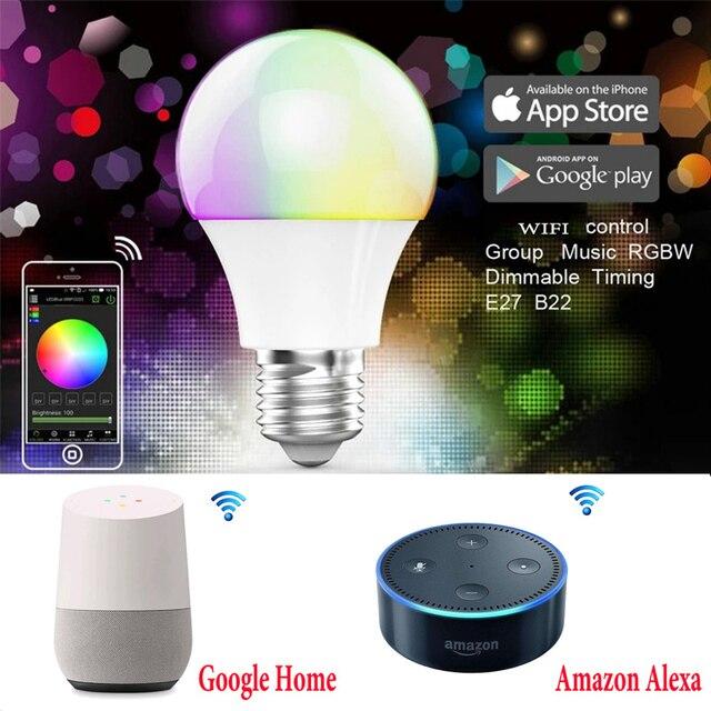 BLYN Светодиодная лампа Wi-Fi Magic Home лампочка RGBW 4,5 Вт RGBW E27 затемнения группа светодиодный свет AC85-265V Smart совместим с Alexa Google Home