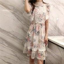 New 2019 Butterfly emulation silk chiffon dress summer flowers printed collar lace falbala G0112 princess