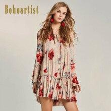 Boho Pleated Floral Print Hollow Flare dresses long sleeve V Neck female Elegant retro fashion autumn mini dresses vestidos