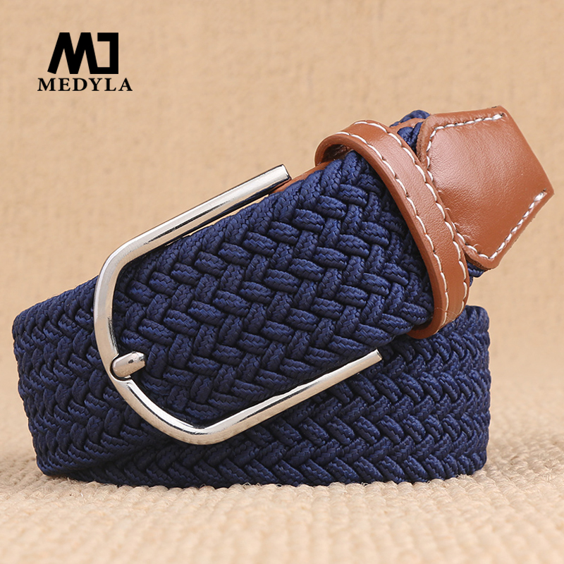 MEDYLA 100-120x3.2cm New mens casual Stretch Woven   Belt   Women's Child Elastic   Belts   For Jeans knitted   belts