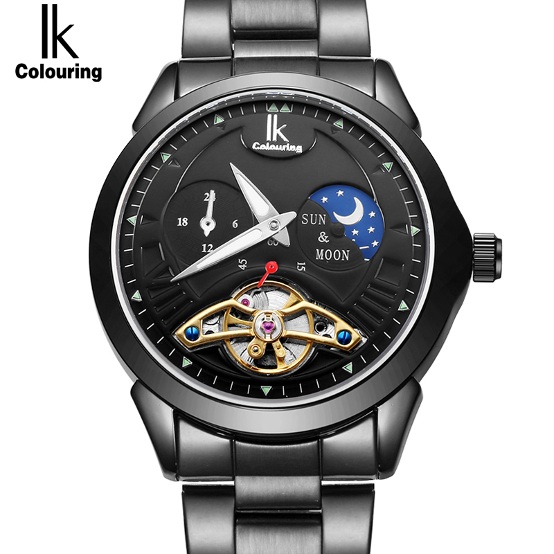 IK 24 hours Moon Phase Black Men's Skeleton WristWatch Stainless steel Antique Steampunk Automatic Skeleton Mechanical Watches dhl ems 1pc new sick vs ve18 3e3940
