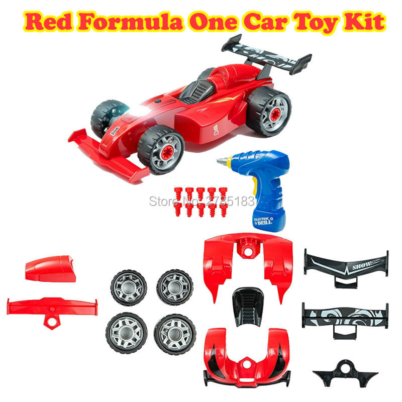 Take Apart Red Formula One Car Toy Kit Take-A-Part Toy for Kids with 24 Take Apart Pieces,Creativ Tool Drill, Lights and Sounds