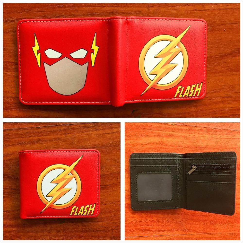 Marvel The Flash Comic Logo Bi-Fold Wallet Mens Credit Card Holder ID Cash Purse PU leather wallet W736 2018 new comics the flash wallet unisex leather pu short folding purse billfold wallet credit card holder wallet w687