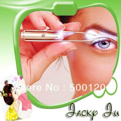 Free Shipping The Light Way Eyebrow Tweezer Pluck Light Pluck Flashing Tweezer With LED Light Beauty Makeup Tool With Batteries