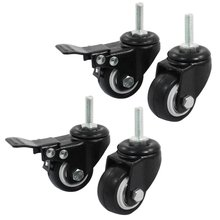 4 Pieces/lot Double Ball Bearings 360 Rotatable Shopping Wheel Trolley Brake Swivel Caster M8 1.5-Inch Black Polyurethane Metal