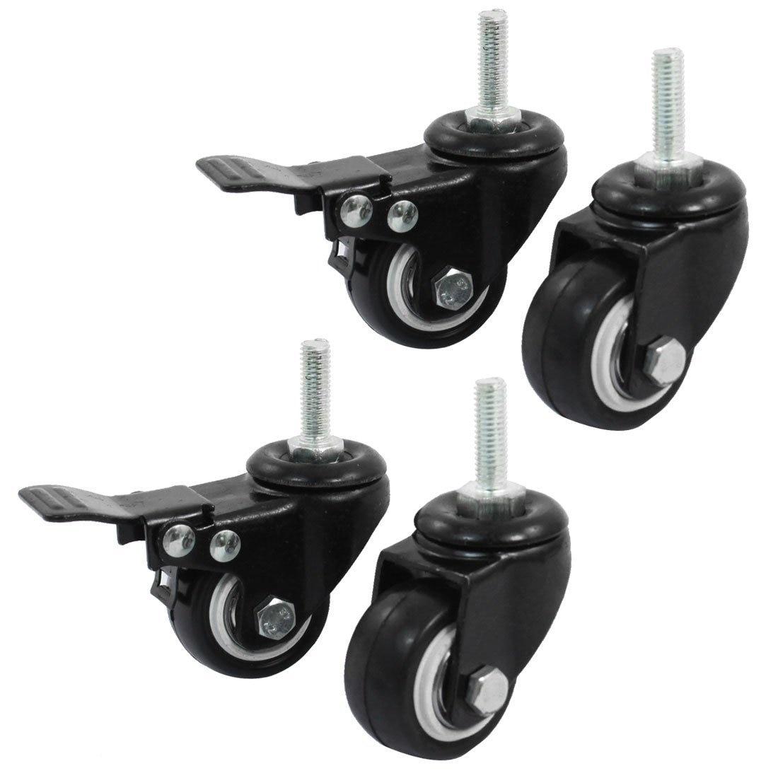 4 teile/los Doppel Kugellager 360 Drehbare Einkaufen Rad Trolley Bremse Swivel Caster M8 1,5-Zoll Schwarz Polyurethan Metall