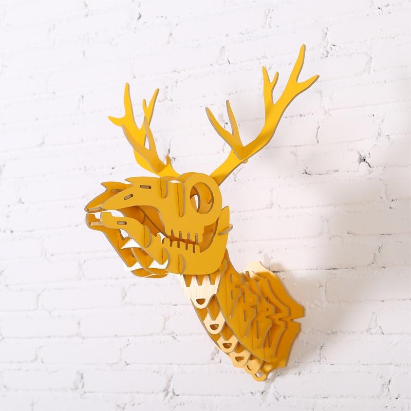 1 set Nordic Style Wooden Animals Head Wall Hangings Deer Head Wood ...