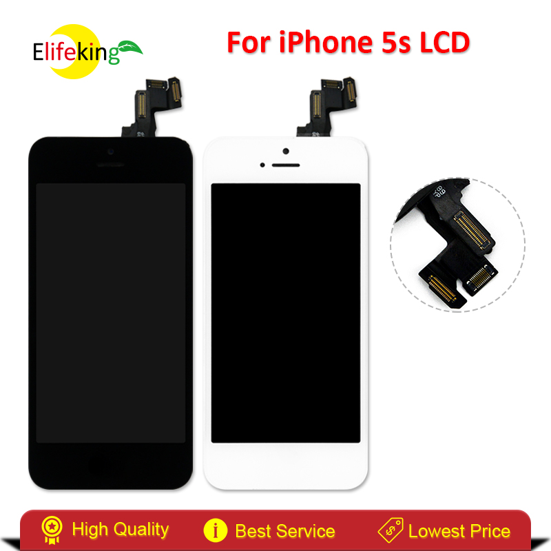 Elifeking 5PCS/LOT for iPhone 5S Full Assembly LCD Display 4 inches +Touch Screen Digitizer Replace Fast Shipping Black & White 5pcs lot free shipping for iphone 5s lcd display touch screen digitizer frame assembly white black