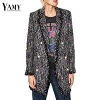 Autumn Winter Pearl Buttons Long Blazer Women Blazers and Jackets Long Sleeve Tweed Jackets Ladies Office Elegant Outwear 2017