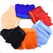 2MetersLot Top natural Goose Feather trim Fringes 15-20cm Dyed black Feather ribbon for Crafts Tape for skirt DIY decorative