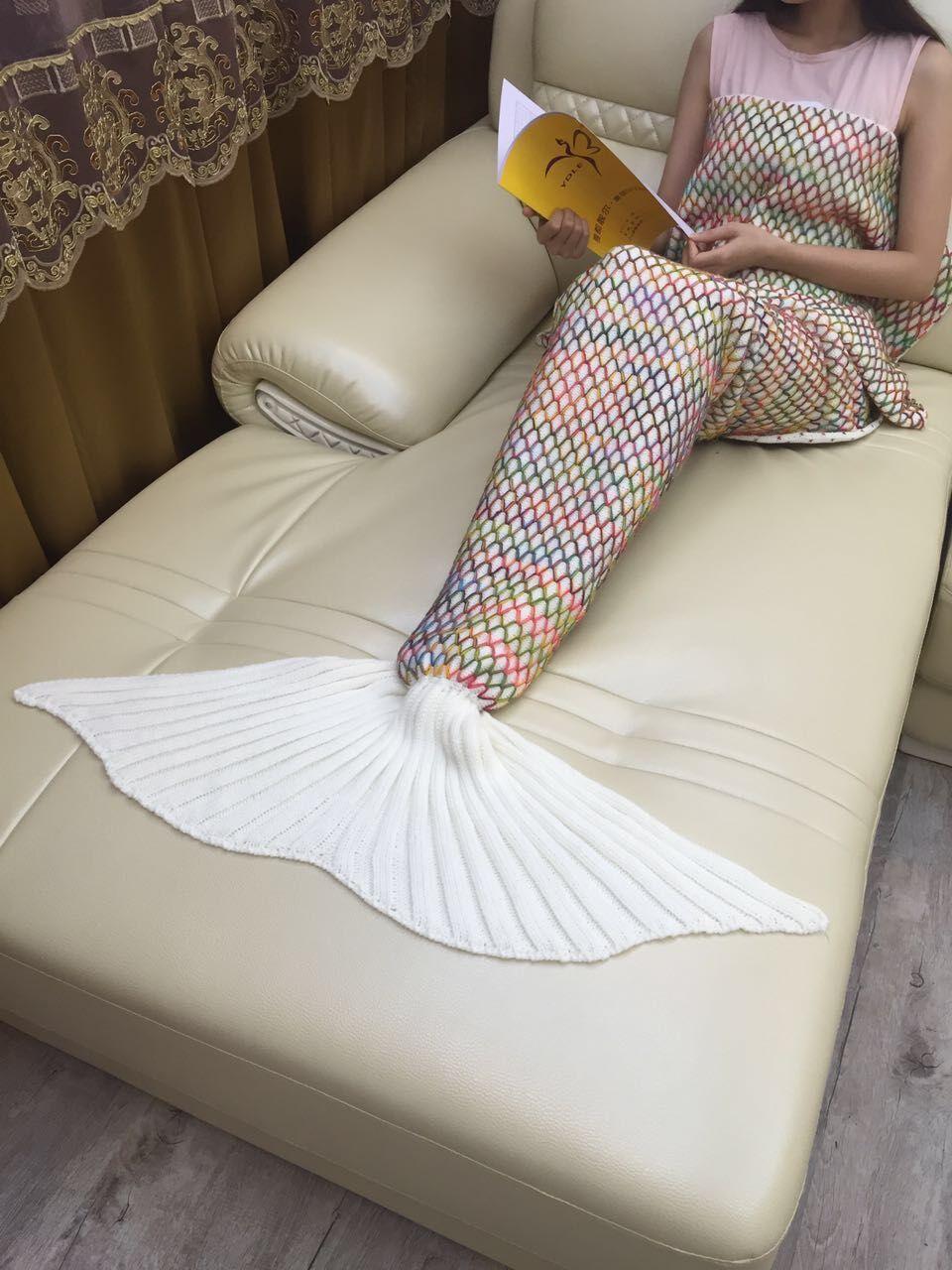 Image 5 - CAMMITEVER Crochet Knitted Mermaid Tail Blanket Super Soft All Season Sleeping Bag For Girls Adults Teens Women Baby Girl Gift-in Blankets from Home & Garden