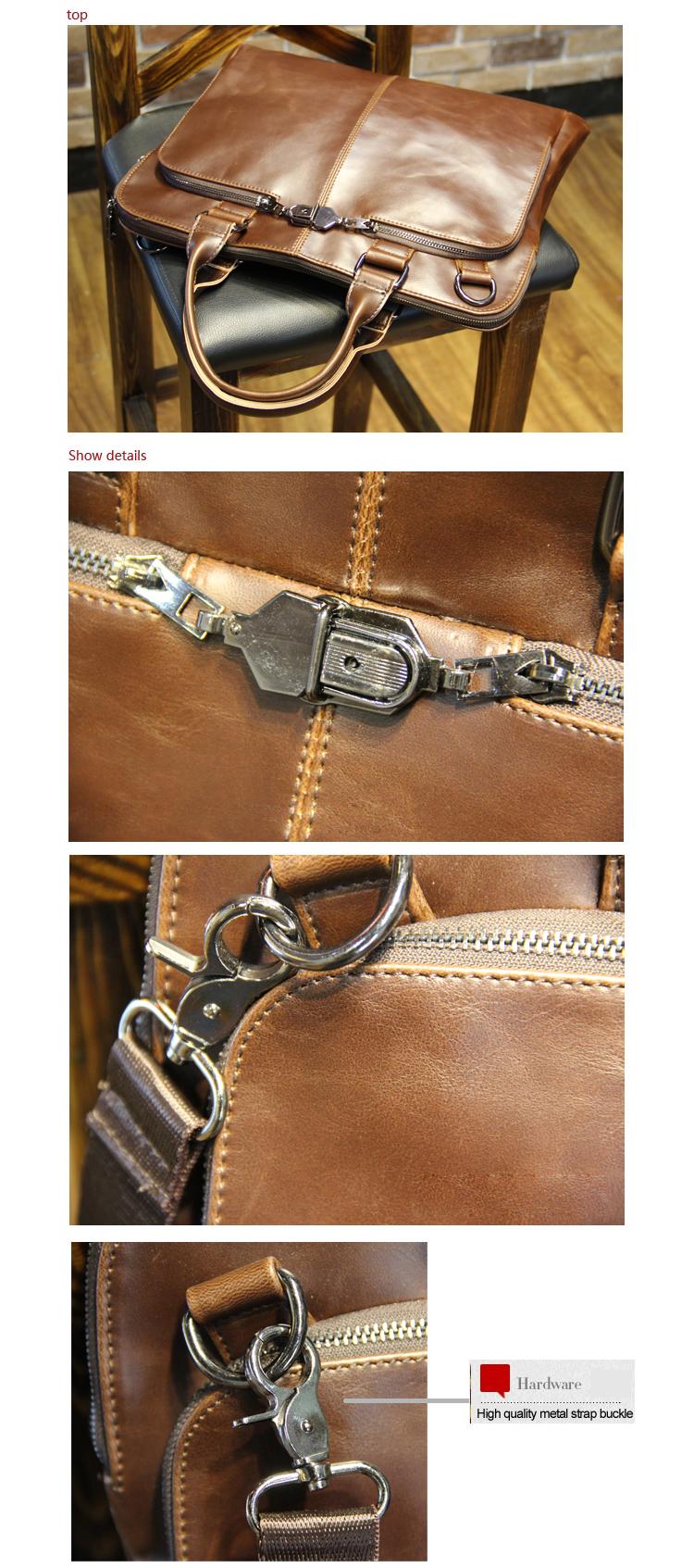 "New high quality pu leather Shoulder leisure men's bag business messenger portable briefcase Laptop large Purse 14"" Handbag 11"