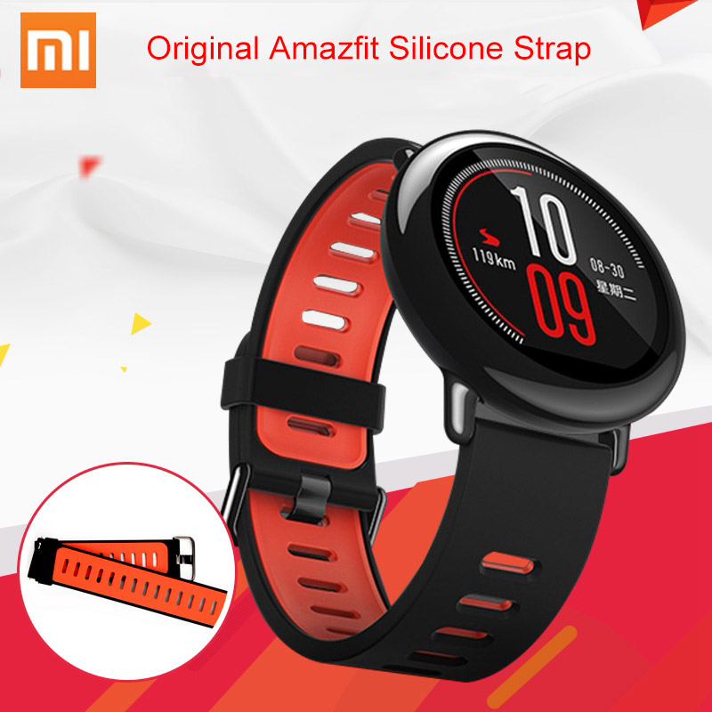 Original Xiaomi Amazfit Strap 22mm Huami Amazfit A1602 Smart Watch Black Replacement Straps Silicone Sports Watch Band Correa