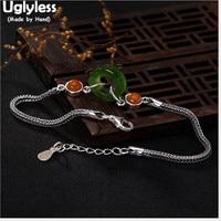 Uglyless S 925 Sterling Silver Bracelets Natural Jasper Ring Charms Bracelet Women Agate Beads Fine Jewelry Snake Chains Bijoux