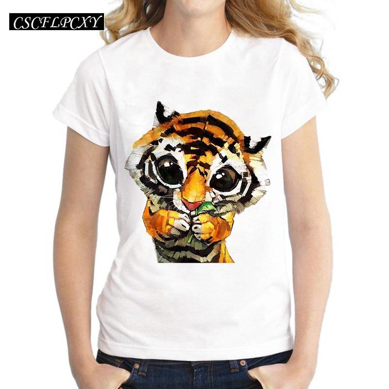 New 2016 Animal Tiger Tees Women T Shirt Cartoon Pug Print Short Sleeve Femme T-Shirts White Plus Size Casual Loose Summer Tops