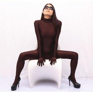 Image 1 - Stehkragen Weichen Spandex Overall Frauen Lycra Körper Gestaltung Sexy Overalls Cosplay Leistung Kostüm einteiliges Strumpfhosen Strampler