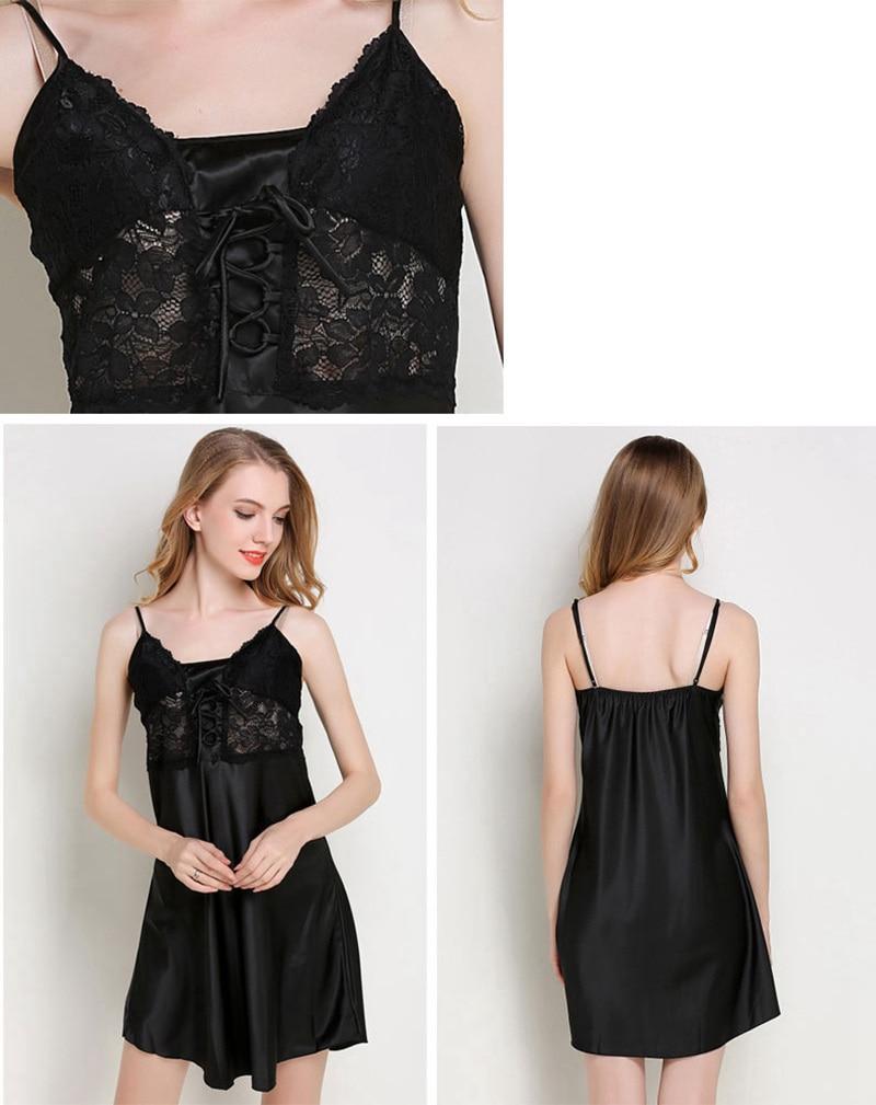Hot Sell Sexy Satin Silk Lace Porn Night Dress Women Spaghetti Strap Nightgown Mini Sleepwear Pull Size Female Bandages