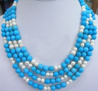 Wedding Woman Jewelry Choker Necklace Blue stone Natural Pearl multilayer Necklace Exaggerate Handmade Charm