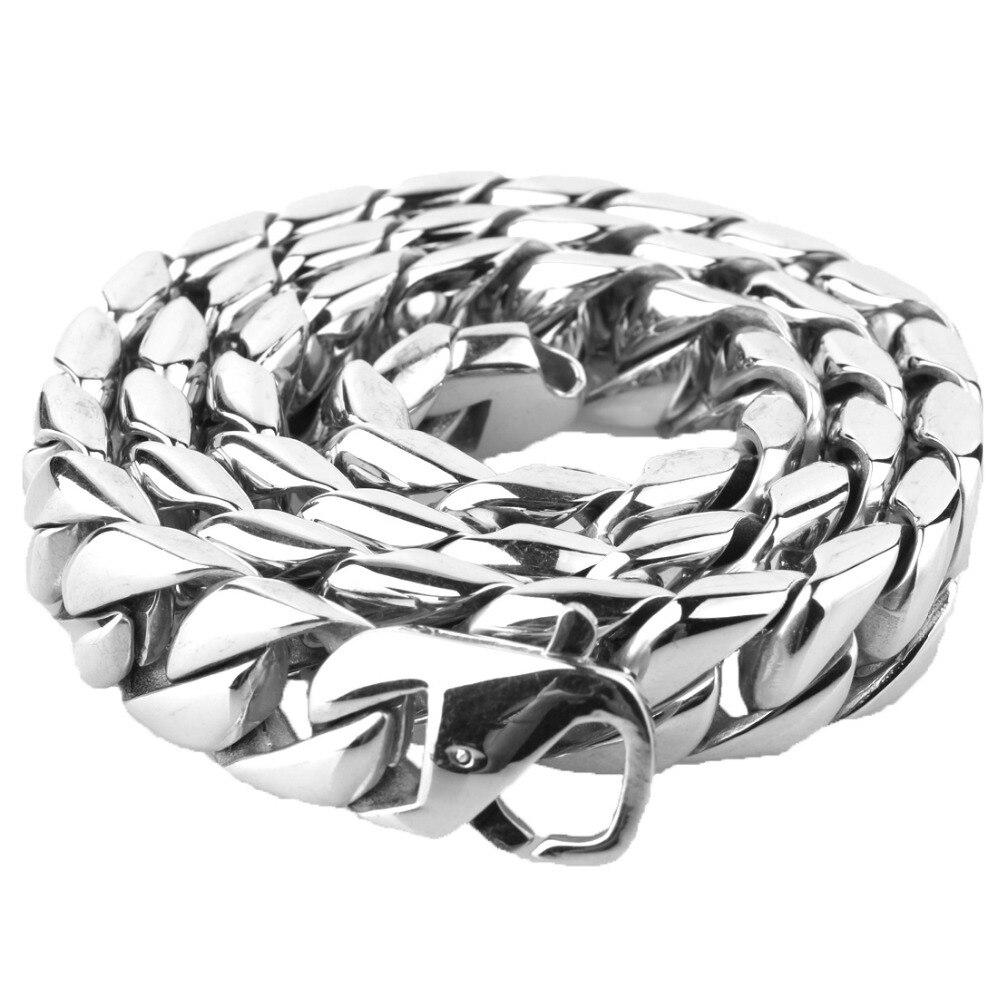 Vente chaude bijoux hommes argent acier inoxydable lourd Bling cubain chaîne collier chaîne 15mm 18