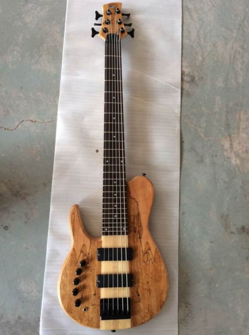 Free Shipping One Piece Neck Through Body 6 Strings Electric Bass guitar In Left Handed 6 string Ash Natural 140410-0520 free shipping new 5 strings electric bass guitar string retainer for one piece xz 8146