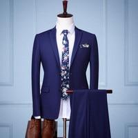 Famous Brand Latest Designer 2 Pieces Men Suits Jacket Pants Two Button Wedding Suits Slim
