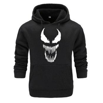 2019 Comic Thick Venom Hoodie Sweatshirts Men Superhero Anime Cool Black Autumn Winter Tops Plus Velvet Warm Hoody