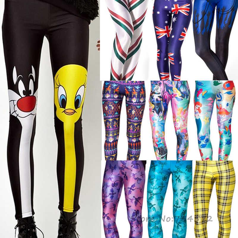 4f8c2305058 4XL 2018 Women Galaxy Leggings Animal Donald Duck Cartoon Characters  Mermaid Printed Leggings Pants Black Milk