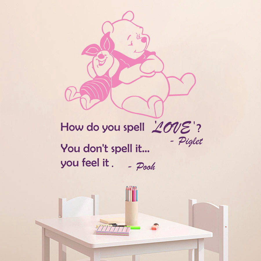 US $5.69 28% OFF|Wall Decal Quote How Do You Spell Love You Feel It Winnie  the Pooh Piglet Vinyl Wall Sticker Nursery Children\' Room Murals M 71-in ...