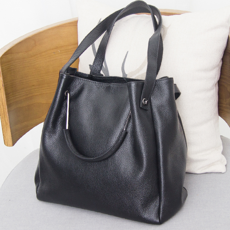 European/American Style Luxury Famous Brands Large Capacity Cow Leather Women Bag 100% Genuine Leather Handbag Tote Shoulder Bag european and american style simple cow leather women bag 100% genuine leather handbag tote shoulder shoulder & crossbody bag
