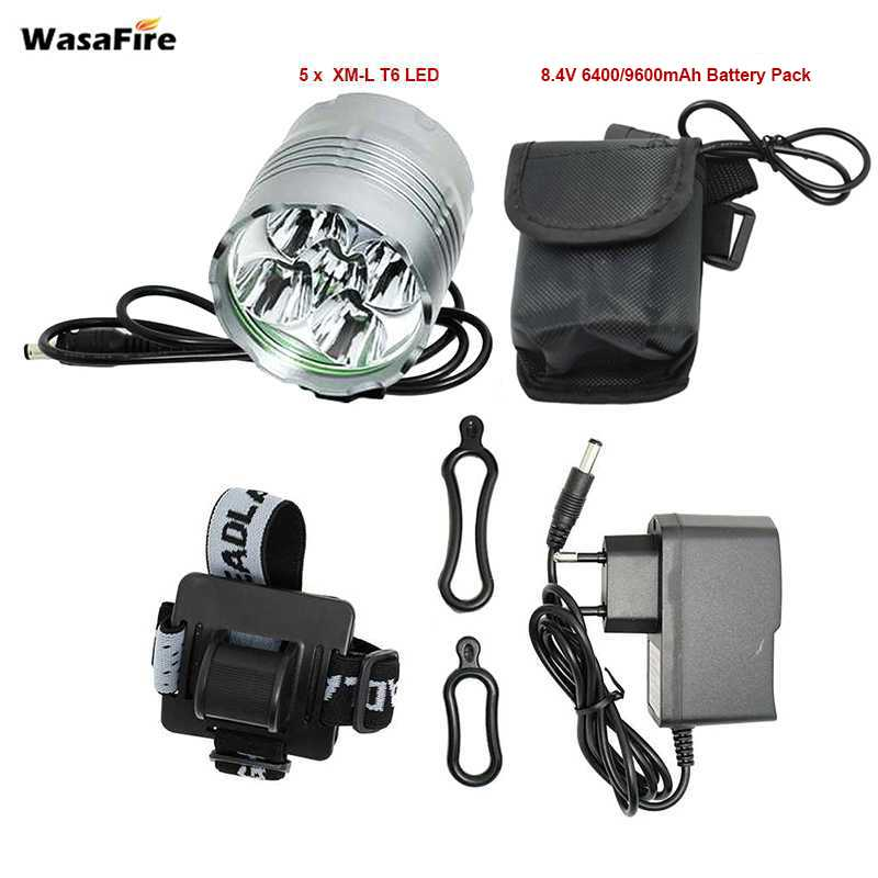 цена WasaFire 6000lm 5* XM-L T6 LED Bicycle Front Light 3 Modes Rechargeable Flashlight 8.4V Charger bike light headlights Front Lamp